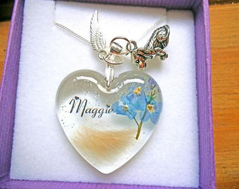 """1"""" Heart Keepsake Paperweight with hair, ashes, name and forget me nots"""