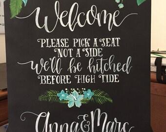 Handpainted Beach Wedding Welcome Chalkbpard Sign
