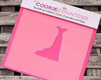 Slim Wedding Dress Cookie Stencil, Wedding Dress Sugar Cookie Stencil, Wedding Fondant Stencil, Cookie Countess Cookie Stencil