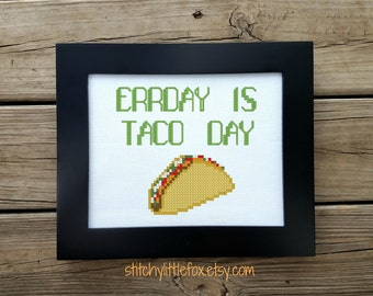 Taco Cross Stitch Pattern -  Taco Tuesday Art - Cute Embroidery Design - Funny Cross Stitch - Mexican Food Embroidery - Taco Lover Gift Idea