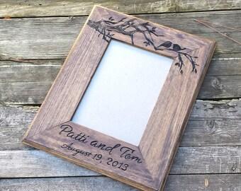 Picture frame, custom wedding photo frame, love birds wooden picture frame, personalized photo frame, 5x7 picture frame, wedding gift