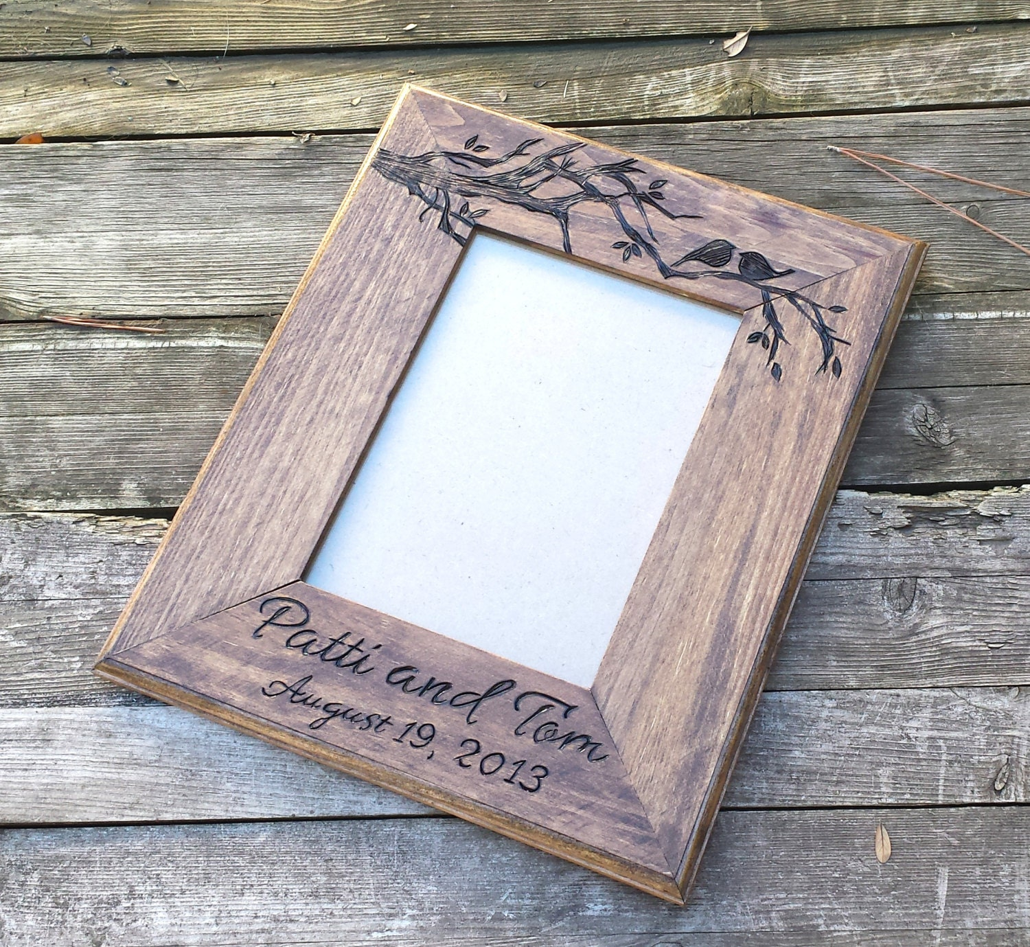 Picture frame custom wedding photo frame love birds wooden request a custom order and have something made just for you jeuxipadfo Images