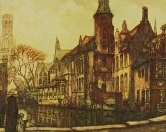 """Vintage Alfred van Neste """"Rozenhoedkaai and the Belfry"""" Framed Lithograph of Bruges"""