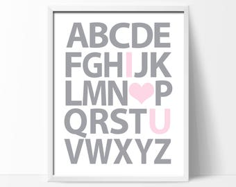 Girls Alphabet Wall Art Print, Suits Pink and Gray Nursery, Alphabet Wall Art, Girls Bedroom Pictures, ABC Wall Art - H360