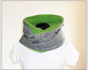 Snood / Loop / Circle Scarf - gray heather / apple green