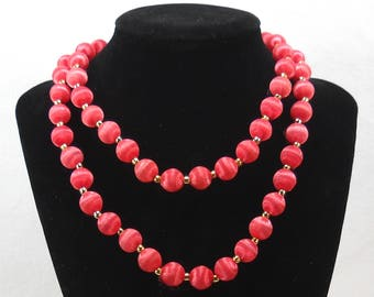 Vintage Satin Red Silk Bead Necklace
