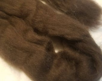 CRAZY Yak combed top roving 100% to spin Dark Chocolate  luxury fiber 4 oz