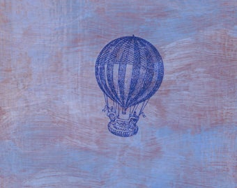 original small affordable art - Striped Balloon in Clouds - one of a kind small acrylic painting by Irene Stapleford - wantknot shop