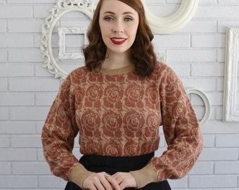 Vintage Beige and Muted Orange Acrylic Sweater with Rose Pattern by Birdie's Nest Size Small