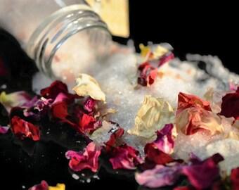 Romance Bath Salts featuring Organic Rose Petals, Sandalwood Essential Oil