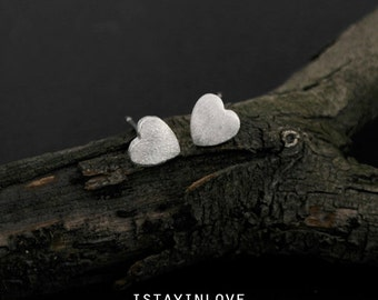 Sterling Silver Geometry Tiny Heart Earring | Geometry Jewelry I Personalized Gift