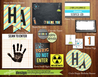 Science party printable accessories - DIY - INSTANT digital download