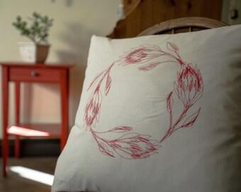 Protea wreath cushion cover