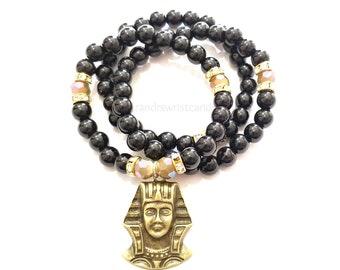 Egyptian Black Beaded Bracelet Set, Stack, Stretchy, Boho, African, Minimalist, Women, Custom Handmade Beaded Jewelry
