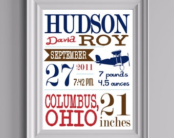 """Customized Airplane Theme Nursery Print - 8""""x10"""" - LOVELY LITTLE PARTY"""