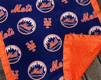 New York Mets Baseball Fleece and Minky Blanket with Orange Satin Binding, Mets Gift, Mets Blanket, Mets Minky