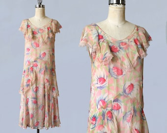 1920s Dress / 20s Floral Chiffon Dress / Lace Trim / Gorgeous!
