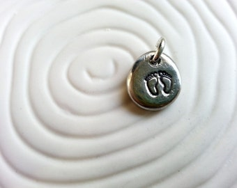 Baby Feet- Personalized Hand Stamped Necklace Charm- New Mother's Jewelry