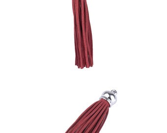 Charms pendant - synthetic (10cm) tassel - Burgundy and silver - PENSY17BOR0696