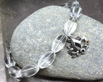 14x8mm Clear Glass Faceted Barrel Beads/Clear Glass/Silver Lotus Charm/Yoga Bracelet/Polished Gemstones/Stretch Bracelet/Jewelry/Handmade