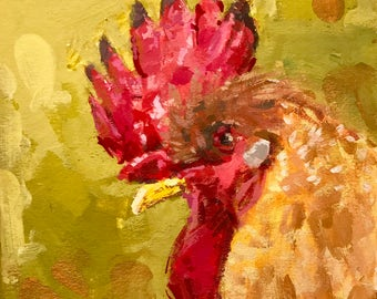 Chicken Head #5 - original painting by Andrew Daniel