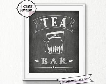 Tea Bar Sign, 11x14, 8x10, chalkboard, Kitchen, Printable, Digital, sign, kitchen wall art, chalkboard tea bar sign, vintage, tea bar, decor