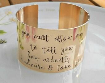 Bronze Mr Darcy Quote Cuff, Jane Austen Quote Jewellery,  Literary Cuff Bracelet, Bronze Wedding Anniversary Gift, Valentines Gift