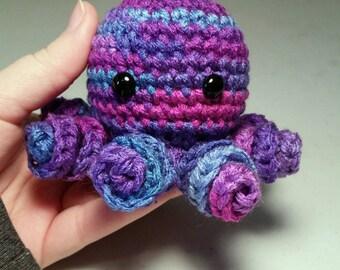 Mini Crochet Octopus Amigurumi, GALAXY, Stocking Stuffer, Octopus Plush, Octopus Plushie, Stuffed Animal, Octopus, Octopus Toy, Multicolored