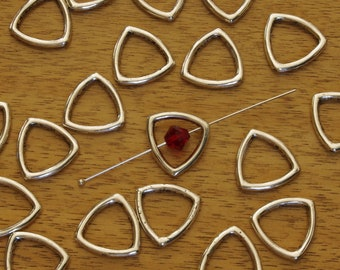 Pewter Triangular Bead Frames Silver Plated 15mm - 10