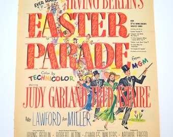 Vintage Easter Parade Movie Ad, Judy Garland and Fred Astaire, Irving Berlin Musical, Original Advertising, 1948