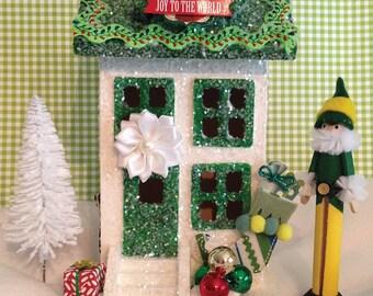 Glitter House, Putz House, Christmas House, Santa's Elves, Christmas Decorations, Elf, North Pole, Santa, Christmas Decor, Holiday Decor