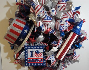 Red-White-Blue-Silver, 4 th of July Wreath, Patriotic Wreath, Patriotic Decor, USA Wreath, Summer Wreath, Grapevine Wreath.