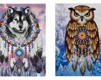 Dream Catcher Bead embroidery owl, wolf embroidery kit, needlework kit, hand embroidery, beautiful home decor, gift idea, beading pattern