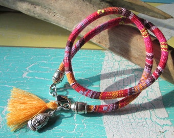 Style wrap bracelet with Buddha head and tassel * hippie * Ibiza style