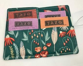 Tea Wallet Tea Bag Wallet Tea Bag Case Tea Bag Holder - Tea Holder Tea Bag Cozy Tea Bag Organizer Wild Gatherings in Spruce Green