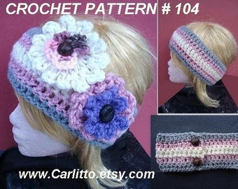 Crochet PATTERN - Headband CROCHET PATTERN...crochet headband - make it any size... Instant Download #104