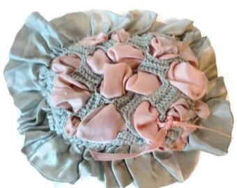 Antique Victorian Silk Ribbon Work Crochet Pincushion