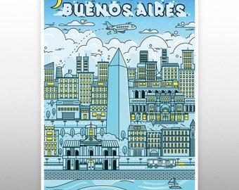 buenos aires City poster prints llustration  Map Art Print  canvas