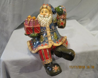 Mantel Stocking Holder Santa Holding Gifts Multi-Color 2002