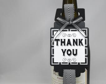 Thank You Bottle Tag in Black, Silver and White
