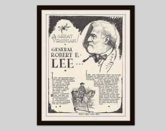 General Lee, Robert E Lee, Vintage Art Print, Classroom Art, History Teacher Gift, Confederate General, Civil War, Military, US History