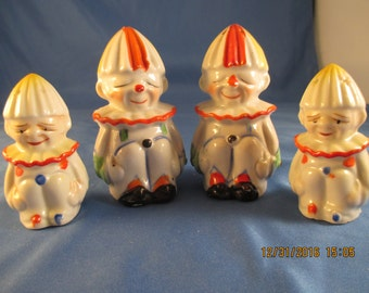 Vintage Clown Salt and Pepper shakers ~ 2 sets