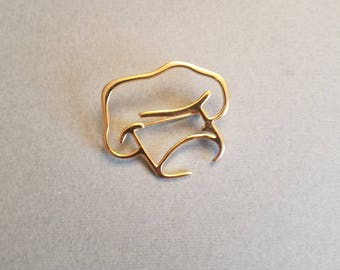 Chef Hat Vintage Gold Toned Brooch Pin 1980s