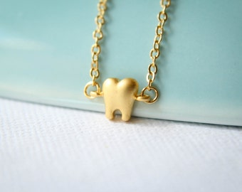 Tooth Necklace, Available in Silver or Gold