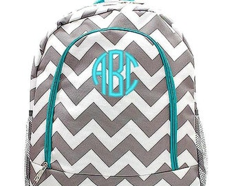 Monogrammed Backpack Personalized Chevron Gray Aqua Backpack Personalized Backpack Kids Backpack Girls Backpack Boys Backpack