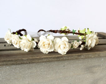 Bridal Flower Crown, Ivory Flower Crown wedding, Flower Girl Crown, boho wedding flower crown, white flower crown, ivory floral crown