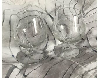 Pair Vintage Brandy Snifters Glasses, Floral Etched, Made in France