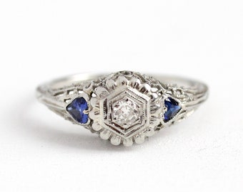 Art Deco Ring - 18k White Gold 1/10 CT Diamond & Created Sapphire Engagement - Vintage 1930s Size 7 1/4 Blue Heart Fine Jewelry