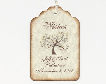 100 Custom Personalized  WEDDING WISH TREE tags-Wedding Favors-Elegant Wedding Tags