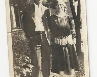 Vintage BW photo of happy young couple